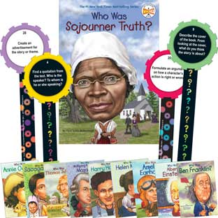 Who Was and ...? Student Literary Text Activity - Set Of 10 Books and 32 Laminated Question Wands - Paperback - Grades 3-7