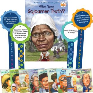 Who Was and ...? Student Informational Text Activity - Set Of 10 Books and 32 Laminated Question Wands - Paperback - Grades 3-7