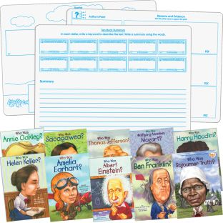 Who Was and ...? Student Comprehension Dry Erase Graphic Organizer Activity - Set Of 10 Books and 6 Two-Sided Dry Erase Graphic Organizer Boards - Paperback - Grades 3-7