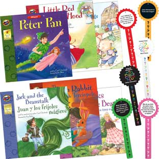 Bilingual English-Spanish Fairy Tale Storybook Collection Guided Reading Activity - Set Of 6 Books and 60 Laminated Question Wands - Paperback - Grades Pre-K-3