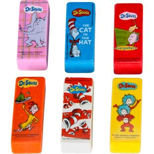 Dr. Seuss™ Beveled Erasers - Set of 12