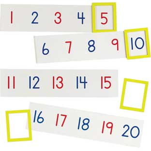 1-100 Magnetic Number Line - 20 strips, 4 frames