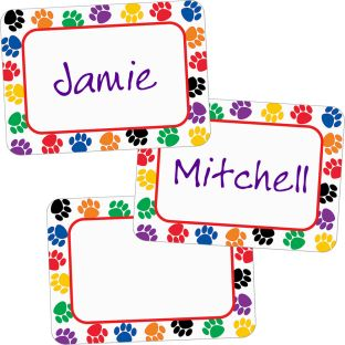 Colorful Paw Prints Name Tags/Labels - 36 tags