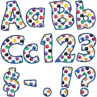 "Colorful Paw Prints Funtastic 4"" Letters And Numbers"