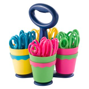 Classroom Scissor Caddy And 24 Blunt-Tip Scissors - 1 caddy, 4 cups, 24 scissors