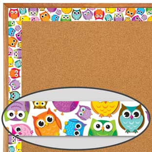 Colorful Owls Border Trim