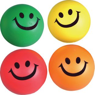 "2½"" Rubber Assorted Colors Smile Squeeze Ball - 12 balls"