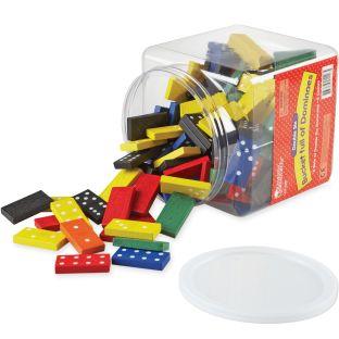 Color Dominoes In A Bucket - 168 wooden dominoes, 1 bucket