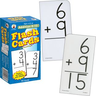 Addition 0-12 Flash Cards - 94 flash cards