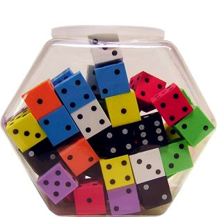 "Foam 1"" (25mm) Spotted Dice - Assorted Colors - 50 foam dice, 1 container"