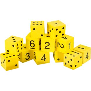 Foam Spot and Number Dice - 48 foam dice