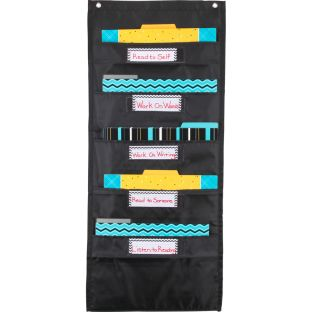 Black 'N' Bold File Folder Pocket Chart And Folders - 1 pocket chart, 6 folders