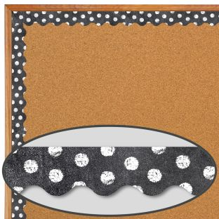 Dots On Chalkboard! White Border Trim