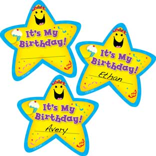 It's My Birthday Star Sticker Badges