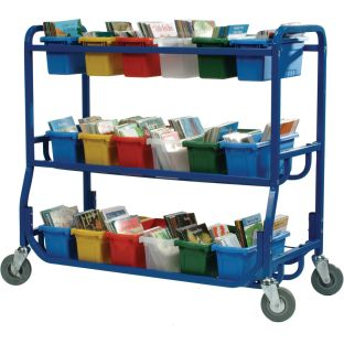 Library On Wheels Cart With 18 Small Tubs - 1 cart, 18 tubs