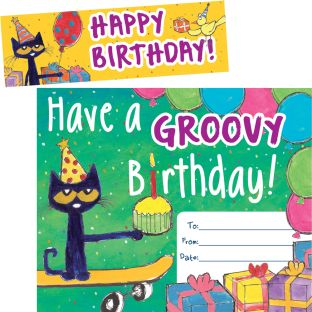 Pete The Cat® Groovy Birthday Bookmark Awards - 30 awards, 30 bookmarks