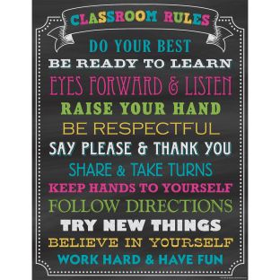 Chalkboard Brights Classroom Rules Chart - 1 poster