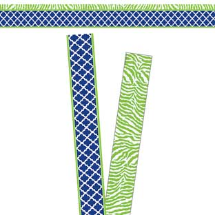 Navy And Lime Wild Moroccan Double-Sided Border