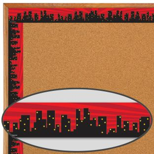 Superhero Cityscape Straight Border Trim