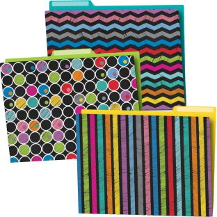 Colorful Chalkboard File Folders