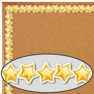 Gold Mylar Balloon Stars Border