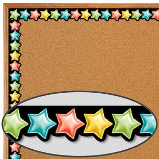 Rainbow Mylar Balloon Stars Border - 1 border trim