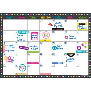 Clingy Thingies® Chalkboard Brights 17 X 12 Dry Erase Calendar - 1 calendar grid, 140 labels