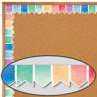 Watercolor Pennants Diecut Border