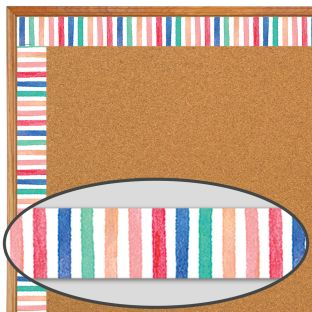 Watercolor Stripes Straight Border Trim - 1 border trim