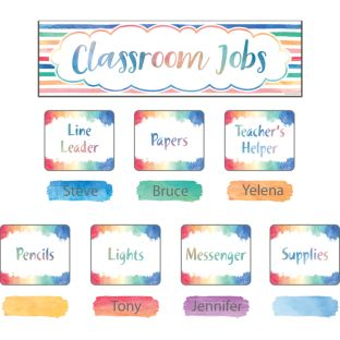 Watercolor Classroom Jobs Bulletin Board Set