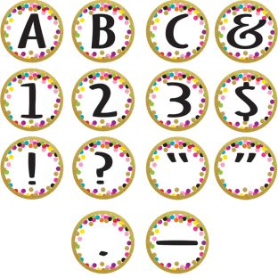 Confetti Circle Letter Accents - 216 pieces