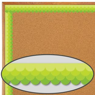 Lime Green Ombré Scallop Painted Palette Border Trim - 1 border trim
