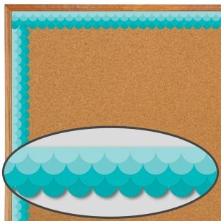 Turquoise Ombré Scallop Painted Palette Border Trim - 1 border trim