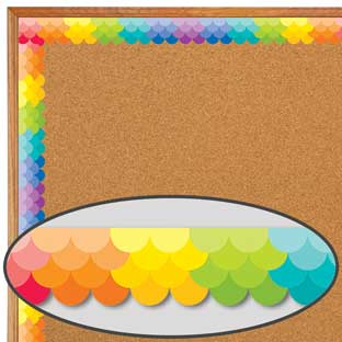 Painted Palette Rainbow Ombré Scallop Border Trim