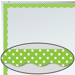 Lime Polka Dots Magnetic Border Trim - 1 border trim