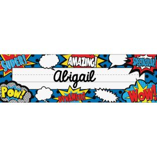 Superhero Flat Name Plates - 36 nametags
