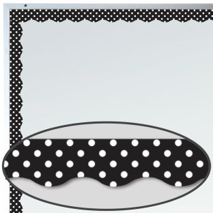 Black Polka Dots Magnetic Border Trim - 1 border trim