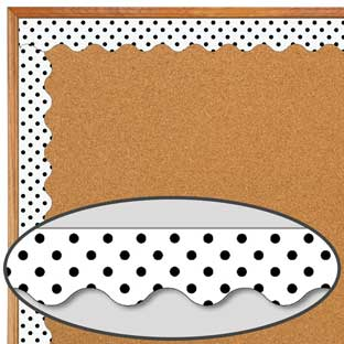 Black Polka Dots On White Scalloped Border Trim - 1 border trim