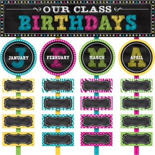 Chalkboard Brights Our Class Birthdays Mini Bulletin Board Kit
