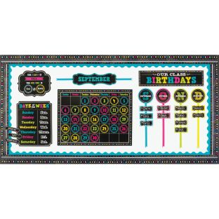 Chalkboard Brights Classroom Calendar Decor Kit - 1 multi-item kit