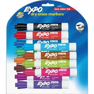 Expo Low Odor Chisel Markers 12 ct. - Assorted - 12 markers