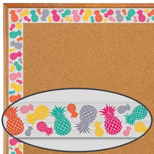 Tropical Punch Pineapples Straight Border Trim - 12 pieces of border trim