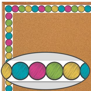Chalkboard Brights Circles Diecut Border Trim - 35 feet of border trim