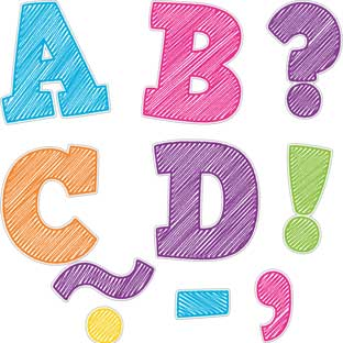 "Colorful Scribble Bold Block 3"" Magnetic Letters - 55 pieces"