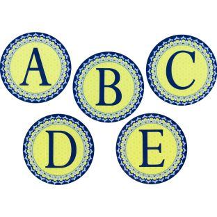 Blue Harmony Circle Deco Letters - 96 pieces