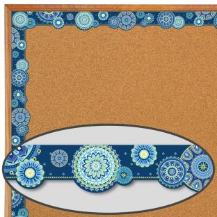 Blue Harmony Mandala Extra Wide Deco Trim - 1 border trim