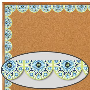 Blue Harmony Half Mandala Extra Wide Deco Trim - 1 border trim