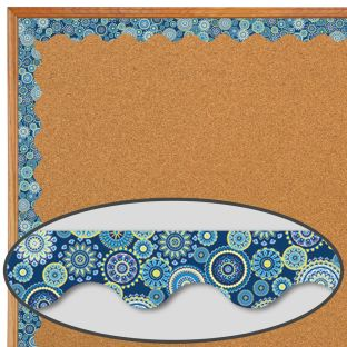 Blue Harmony Mandala Scalloped Deco Trim - 1 border trim