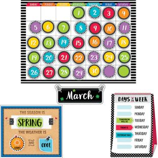 Bold and Bright Calendar Bulletin Board Set