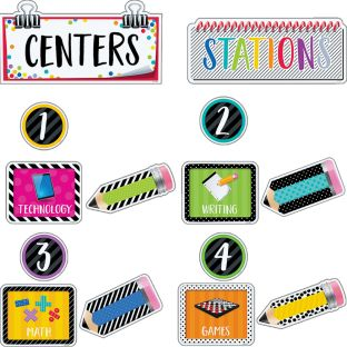 Bold and Bright Classroom Centers Bulletin Board Kit - 107-piece set
